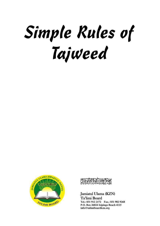Simple Rules of   Tajweed       ßbnäíĔìž aíØöbáÝÉÜaóïÉ»            ÜŒ       Jamiatul Ulama (KZN)       Ta'limi Board      ...