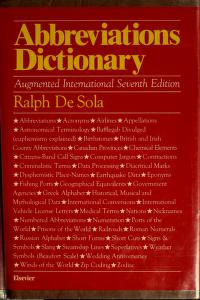 Cover of: Abbreviations dictionary | Ralph De Sola, Ralph De Sola